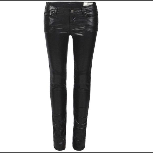 304c098bb03 All Saints Pants - All Saints Spitalfields black coated jeans